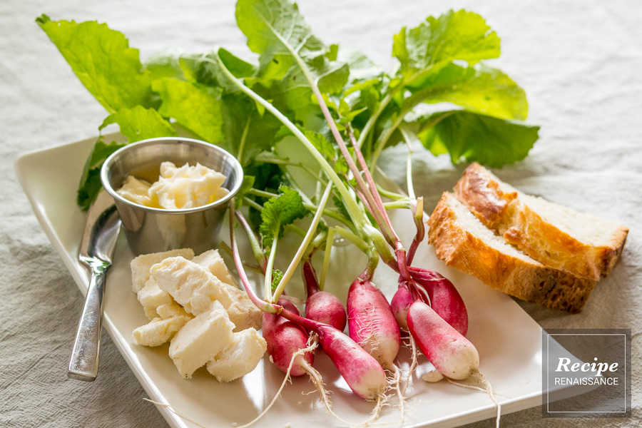 Simple Appetizer Idea -- Radishes, Feta Cheese, Crusty Bread & Butter